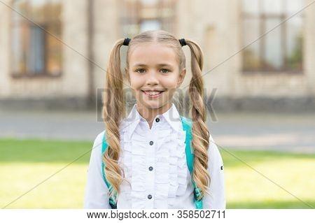 I Got New Rules. First Day Of School. Happy Schoolgirl Urban Background. Little Schoolgirl Back To S