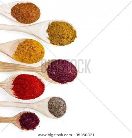 border of powder spices on spoons isolated on a white background
