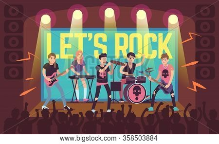 Musicians On Concert. Rock Band And Pop Musicians, Sound Equipment And Musical Instruments, Populari