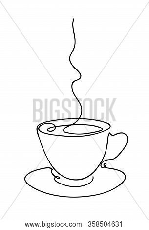 Cup Cup Of Coffee Continuous Line Art Hand Drawing. Coffee House Logo. Outline Style Drawn Sketch Ve