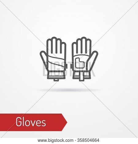 Pair Of Typical Reinforced Working Gloves. Modern Isolated Leather Or Textile Glove Icon In Outline