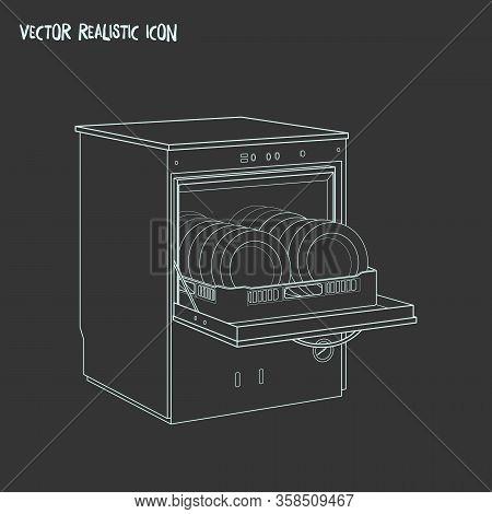 Dishwasher Icon Line Element. Illustration Of Dishwasher Icon Line Isolated On Clean Background For