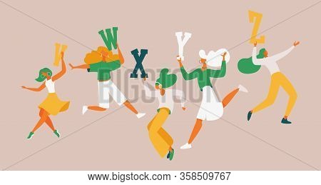 Young Women Dancing With English Capital Letters V W X Y Z. Concept Educational Illustration