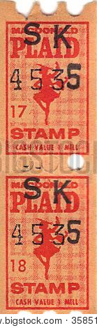 Vintage Macdonald Plaid Trading Stamps poster