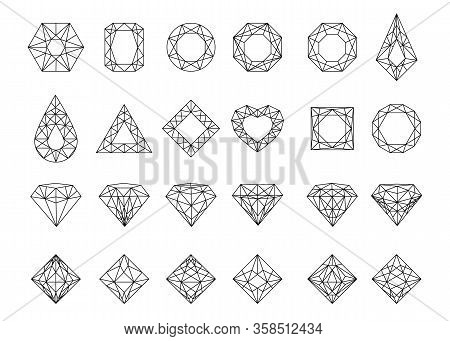 Gems Set. Jewels And Diamonds Collection. Crystal Gemstone, Jeweler Gems Precious Or Jeweller Brilli