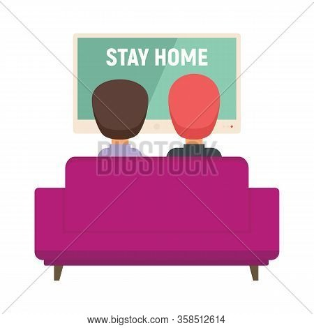 Family Watching Tv Vector Concept. Illustration With Family Watching Tv. Stay Home.