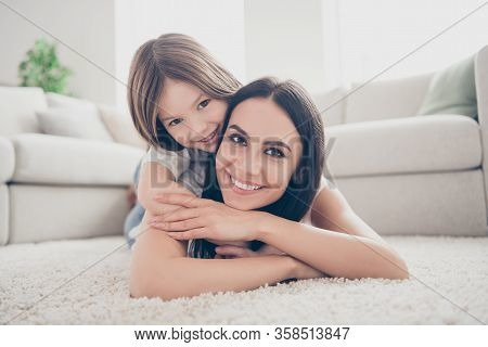 Close Up Photo Of Cute Lovely Candid Mommy Cuddle Her Kid Girl Lay Carpet Enjoy Spend Free Time Toge