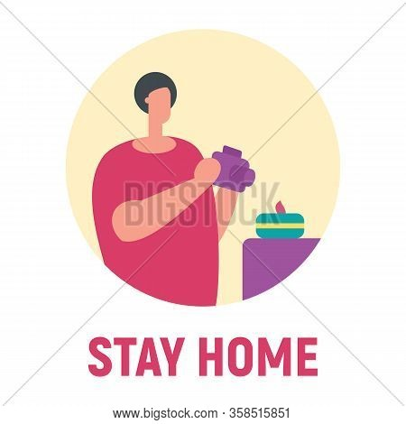 Stay Home And Make Photo. Vector Concept With Man On Quarantine And Self Isolation Make Photo