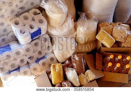 Stock Of Essential Products During The Covid-19 Quarantine. Cereals, Vegetable Oil, Pasta, Sugar, To