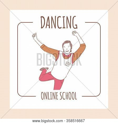 Online Dancing School Banner Design Template With Text Space. Happy Dancing Man In Casual Clothes Ri