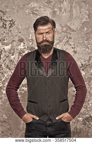 Growing Long Mustache. Moustache Style. Well Groomed Hipster. Barbershop Concept. Beauty Industry. F
