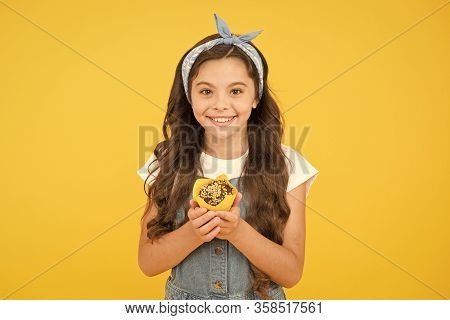 Vintage Girl Muffin Yellow Background. Happy Child Love Desserts. Delicious Cupcakes. Gluten Free Re