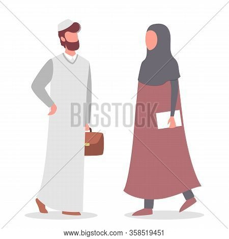 Muslim Woman And Man Talk To Each Other. Arabian Business Man