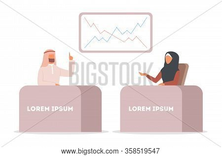 Arabic Tv News, Woman And Man Reporting Breaking News. Muslim Tv
