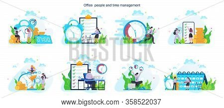Business People Work Effectivity And Planning Set. Productive Time