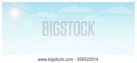 Blue Sky With White Clouds Horizontal Background. Sky On A Sunny Day. Nature Landscape Banner With B