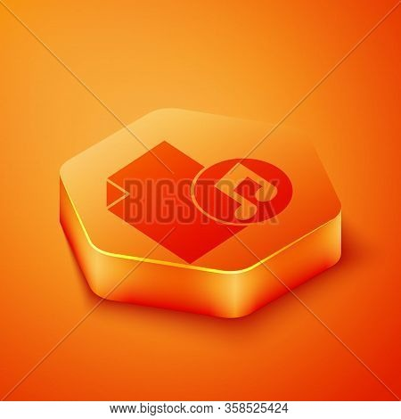 Isometric Music Book With Note Icon Isolated On Orange Background. Music Sheet With Note Stave. Note