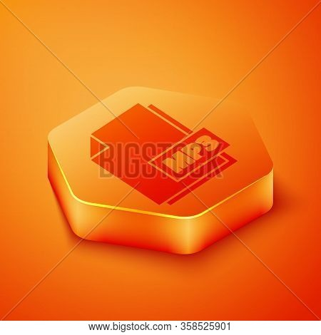 Isometric Mp3 File Document. Download Mp3 Button Icon Isolated On Orange Background. Mp3 Music Forma