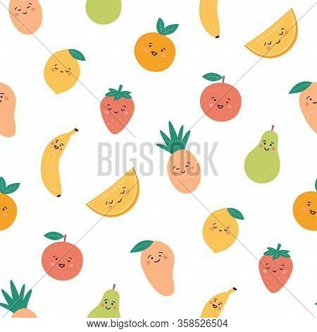 Seamless Pattern With Funny Fruits. Kawaii Smiling Fruit Characters. Hand Drawn Vector Illustration
