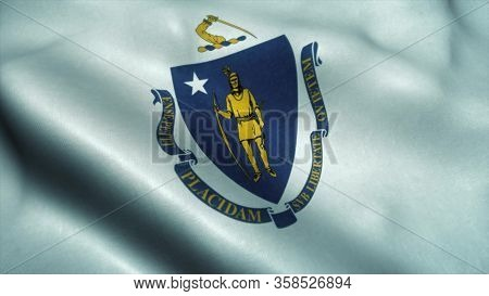 Massachusetts State Flag Waving In The Wind. National Flag Of Massachusetts. Sign Of Massachusetts S