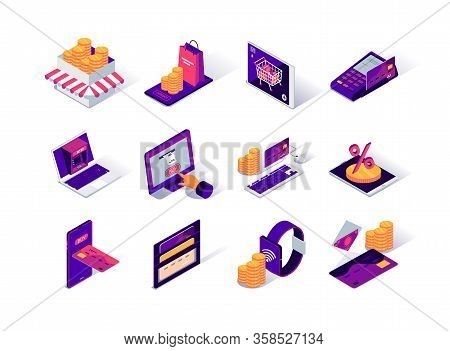 Ecommerce Platform Isometric Icons Set. Online Banking And Money Transfer, Ecommerce Website Service