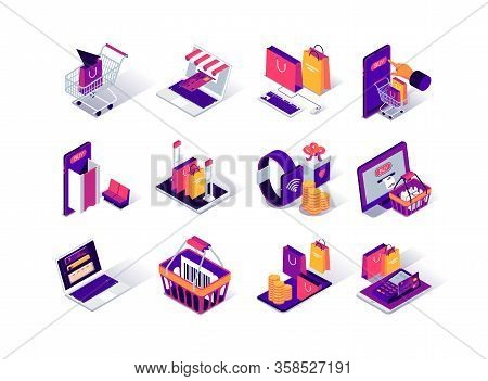 Online Shopping Isometric Icons Set. Internet Marketplace Mobile Application. Payment By Smartphone,