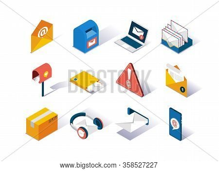 Email Service Provider Isometric Icons Set. Delivery Box, Mail Envelope, Postbox, Mobile Application