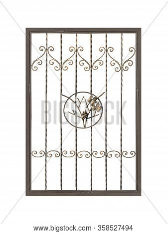 Modern Wrought-iron Grid In Old Style. Isolated Over White Background.