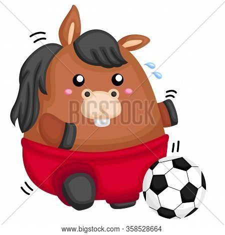 A Fat Horse With Red Pants Playing Soccer
