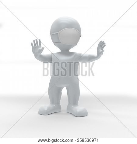 3d render of 3D Morph Man Social Distancing