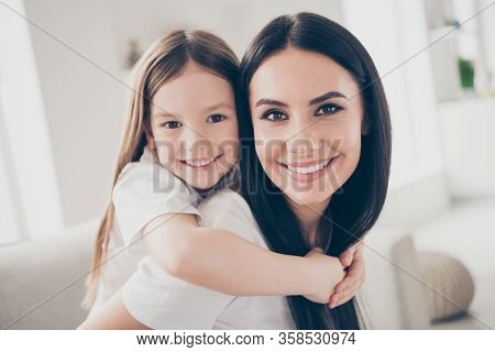 Closeup Photo Of Cute Small Girl And Young Charming Mom Hugging Piggyback Inspiration Harmony Comfy