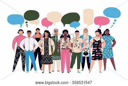 Diversity Crowd - Diverse Group Of Cartoon People With Speech Bubbles
