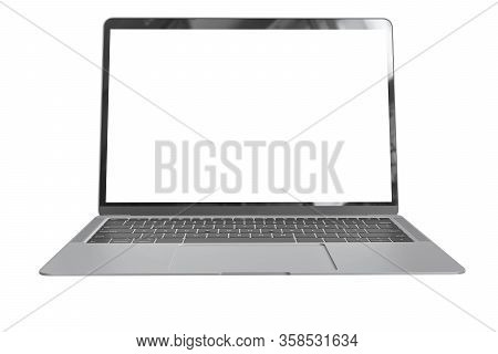 Modern Computer Laptop Open White Screen Isolated With Clipping Mask On White Background For Present