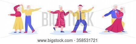 Senior Couple Dance Move Set - Cartoon Old Man And Woman Dancing