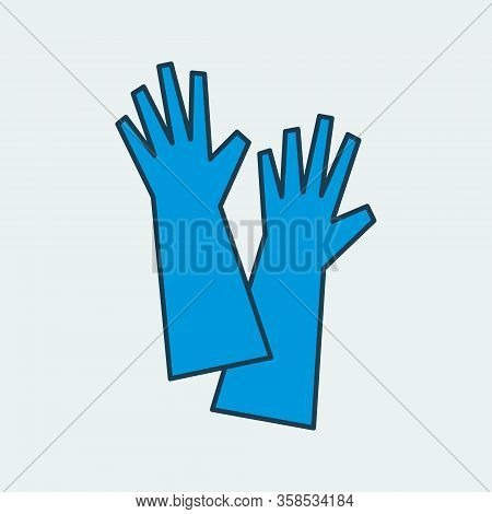 Vector Icon Of A Long Protective Gloves. It Represents A Concept Of Medical Protection, Isolation, H