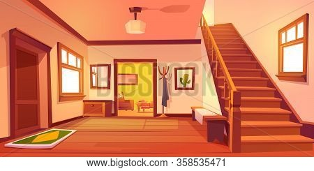 Rustic House Hallway Entrance Interior With Wooden Stairs And Furniture. Western Style Apartment Wit