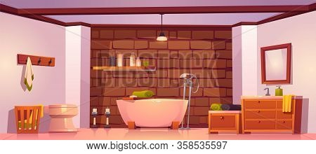 Bathroom In Rustic House With Bath, Sink, Toilet Bowl And Wooden Furniture. Vector Cartoon Interior