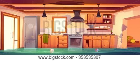 Flooded Rustic Kitchen, Abandoned Empty Interior With Broken Wooden Furniture And Cracked Walls And