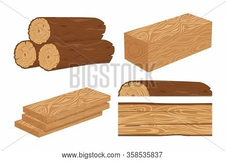 Wood Log And Trunk, Stump And Plank. Wooden Firewood Logs. Woodcutter Wood Forest Material Cartoon I