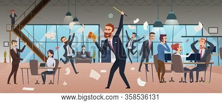 Angry Boss. Businessman Screaming In Office Chaos Deadline Stress Managers Working And Running Vecto