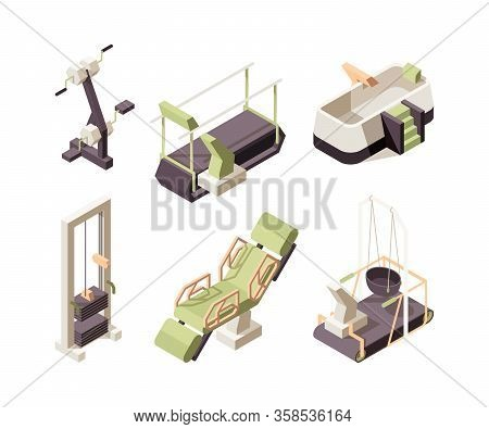 Rehabilitation Center. Training Equipment For Disabled People Medical Healthy Clinic Assistant Exerc