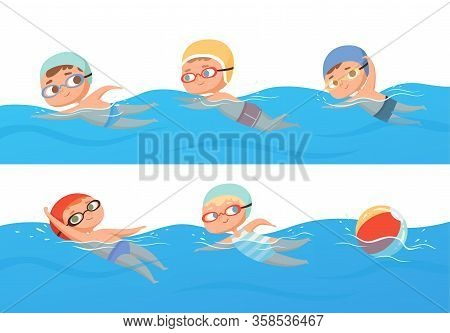 Kids Swimming. Happy Children Water Sport In Pool Summer Swimming Classes Vector Collection Set. Hap