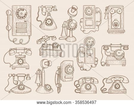 Old Telephone. Retro Gadgets Communication Phones Vector Collection. Telephone Old Retro To Communic