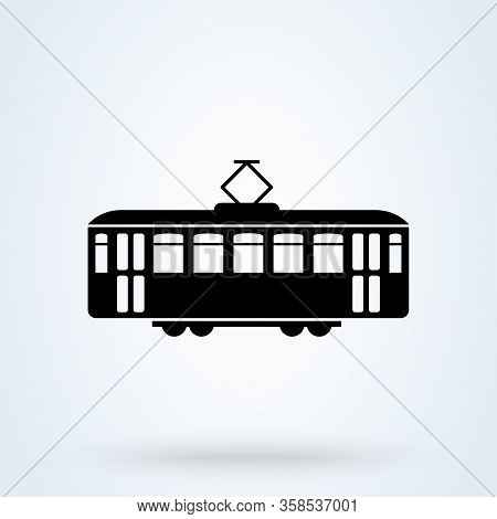 Retro Tram Side View Icon. Tramway Transportation Concept. Vector Illustration.