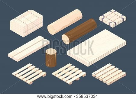 Wooden Pallet. Isometric Cargo Containers And Packages Timber Vector Wooden Set. Cargo Pallet Fot Tr