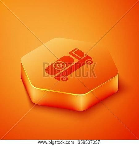 Isometric Fuel Tanker Truck Icon Isolated On Orange Background. Gasoline Tanker. Orange Hexagon Butt