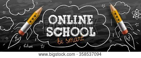 Online School. Digital Internet Tutorials And Courses, Online Education, E-learning. Web Banner Temp