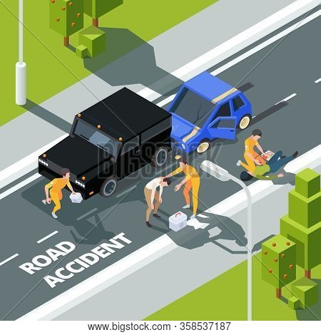 Accidence Road. Paramedic First Aid Help To People Police And Medical Workers Vector Isometric Backg