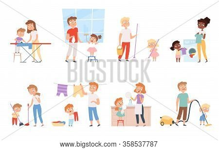 Children Housework. Cleaning Room Washing Appliance Boys And Girls Helping Parents Vector Cartoon Pe