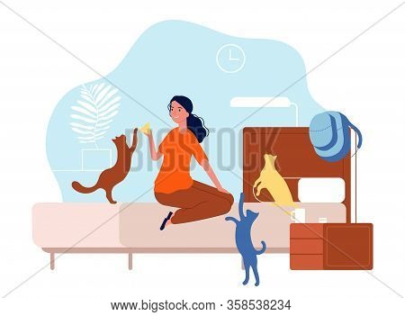 Cats With Woman. Young Girl With Pets In Bedroom. Home Animals, Kittens And Female Vector Illustrati